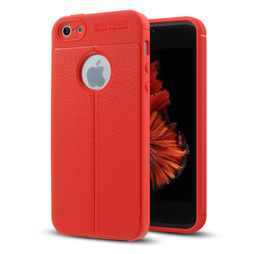 iPhone SE / 5 / 5S litchi skin PU leather case - Red