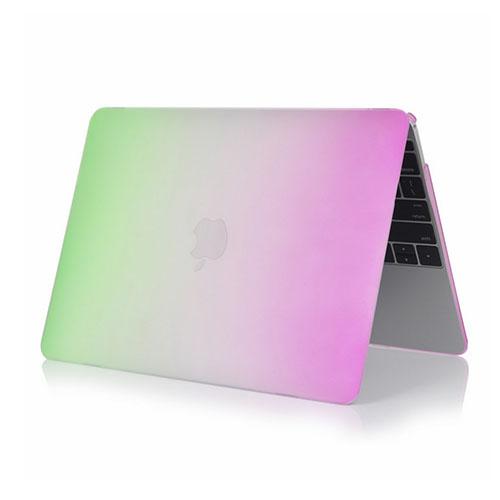 Image of   Rainbow Macbook 12-Tommer Retina (2015) Etui - Grøn / Lilla
