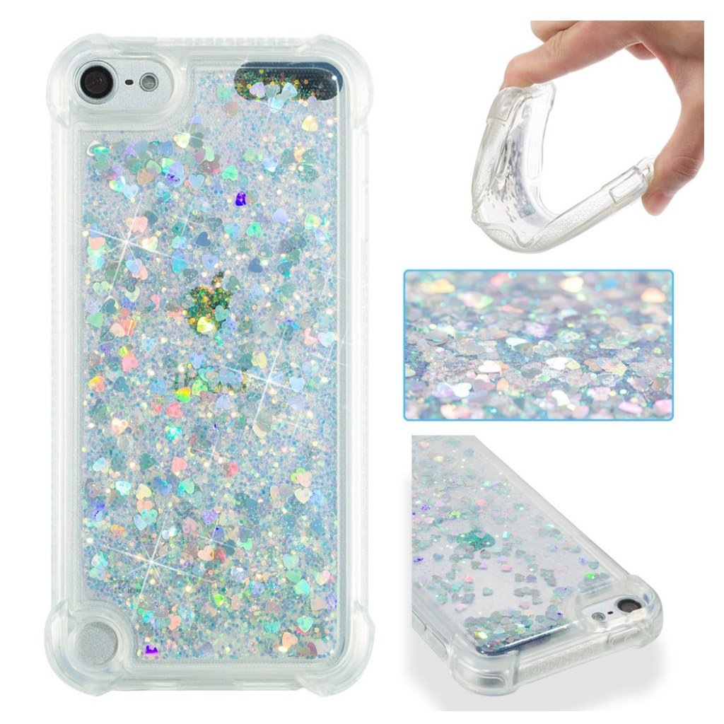 Image of   Apple iPod Touch 6 glitter powder heart shaped sequins case - Silver