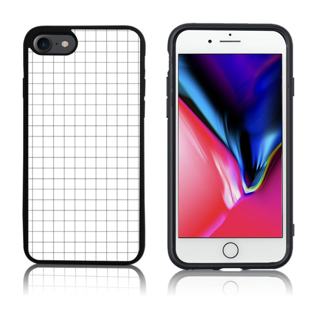 iPhone 7 / 8 Cover med 3D motiv - Hvid ternet mønster