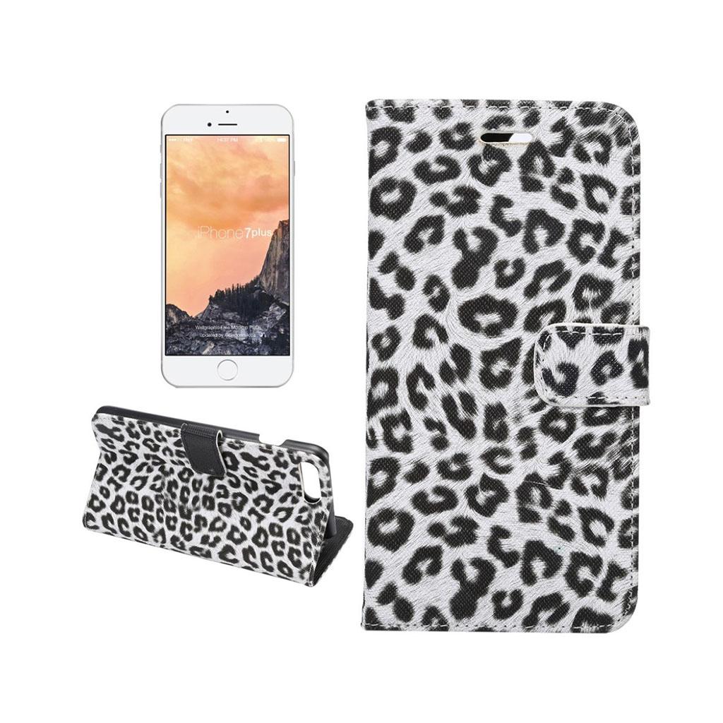 Image of   Leopard flip-etui i læder til iPhone 7 Plus / 8 Plus - Hvid