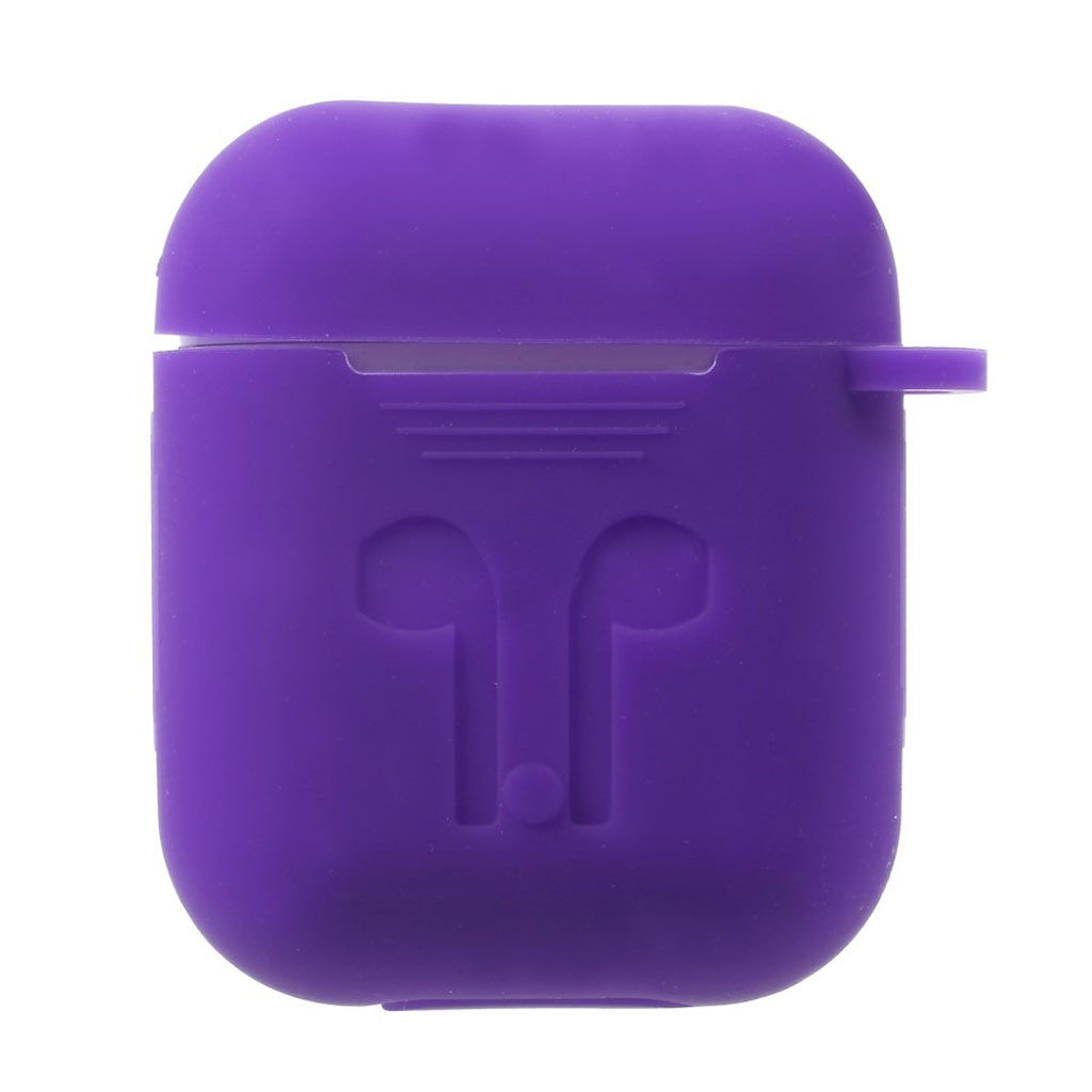 Image of   Airpods drop-proof soft silicone case - Purple
