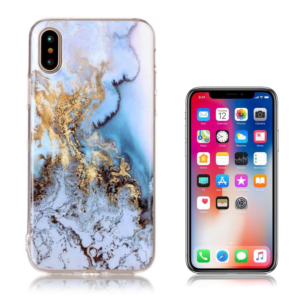 iPhone X cover med holdbare farver - Guld og blå