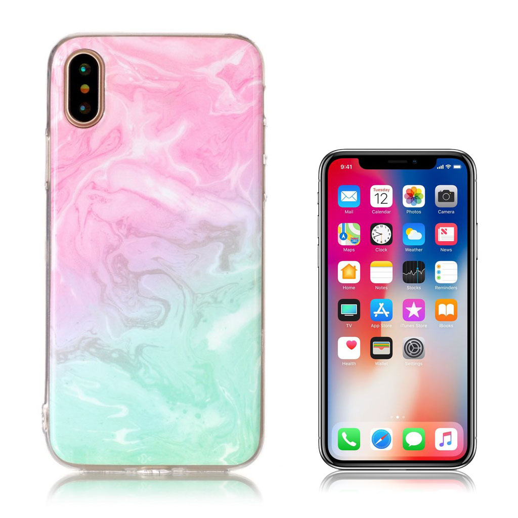 iPhone X cover med holdbare farver - Turkis og lyserød