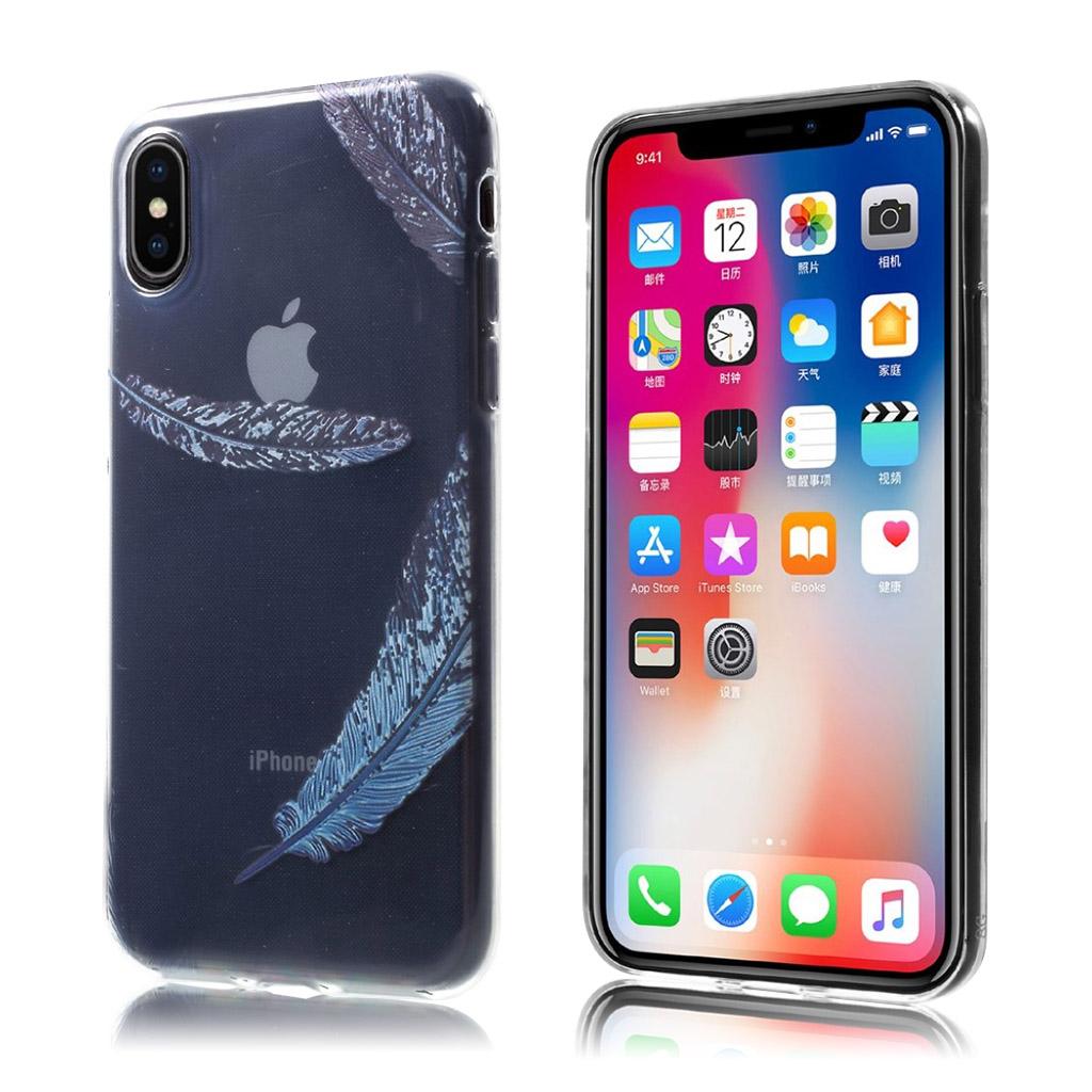 iPhone X Blødt silikone cover - Blå Fjer