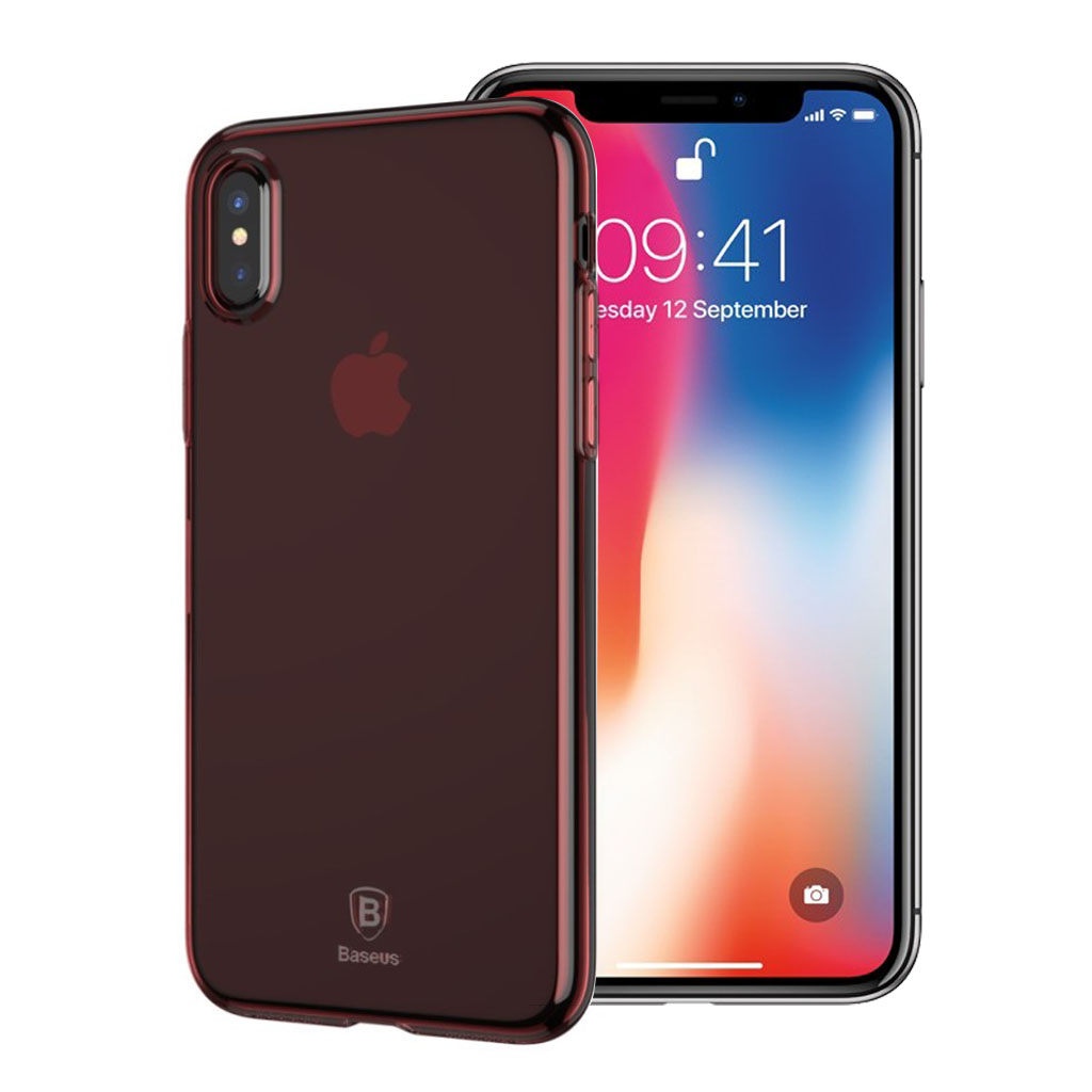 BASEUS iPhone X transparant silikone cover - Rød