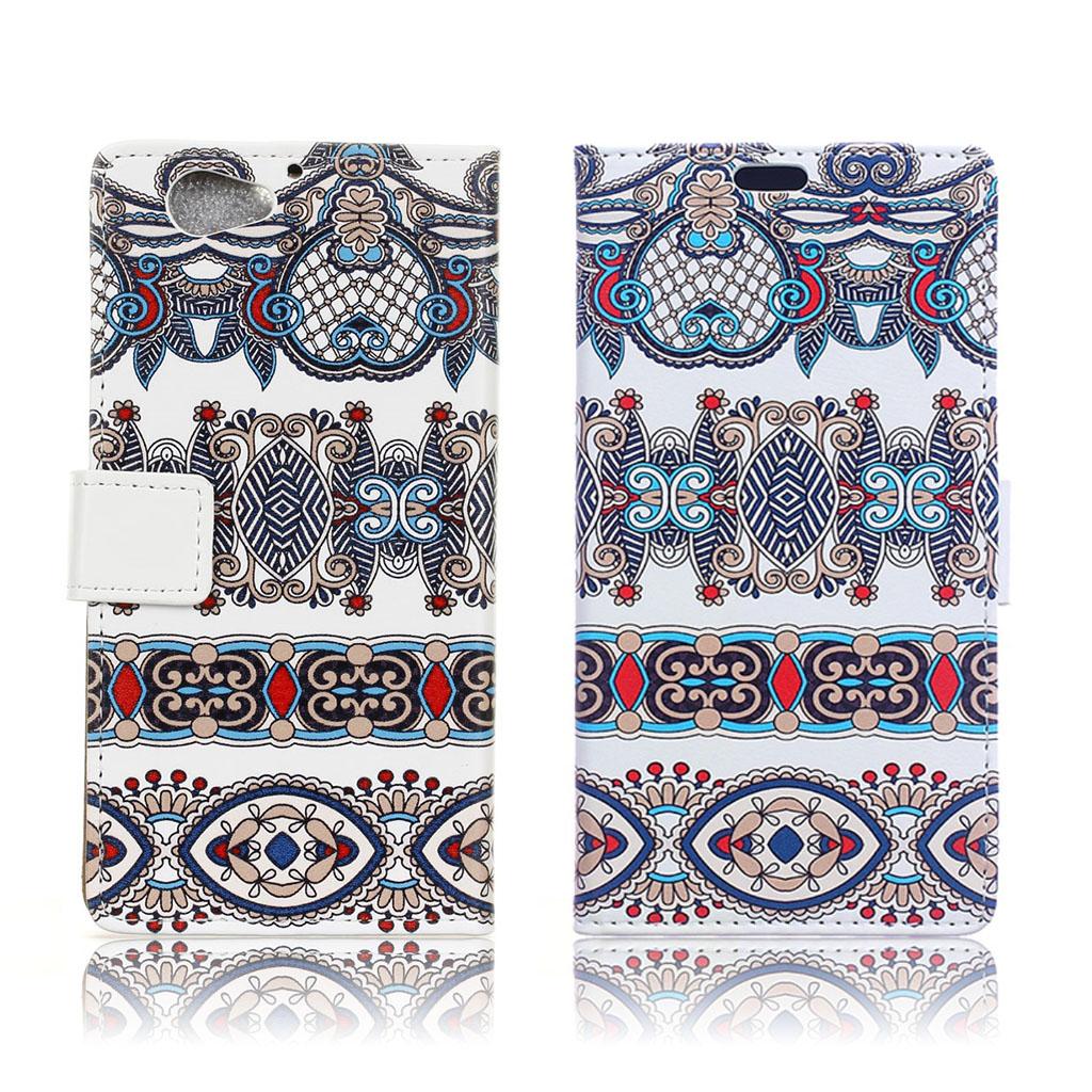 HTC A9s fleksibelt læder-etui m. kortholder - Arabisk blomstermønster