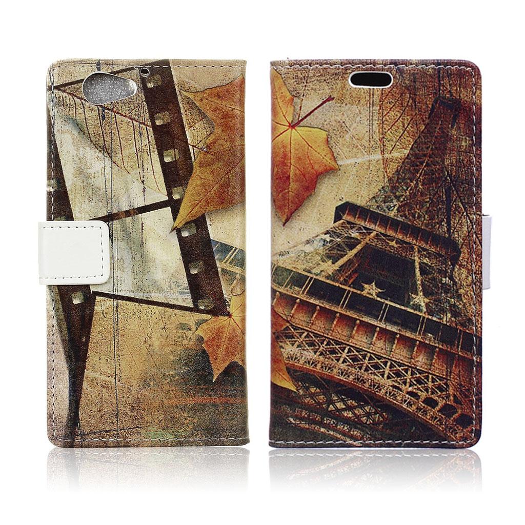 HTC A9s holdbart læder-etui m. kortholder - Eiffeltårn og ahornsblad
