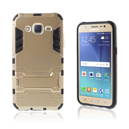 Cool cover med kick-stand til Samsung Galaxy J5 - Champagne