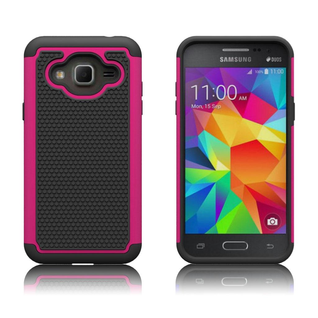 Samsung Galaxy J3 / J3 (2016) Beskyttende hybridcover - Hot pink