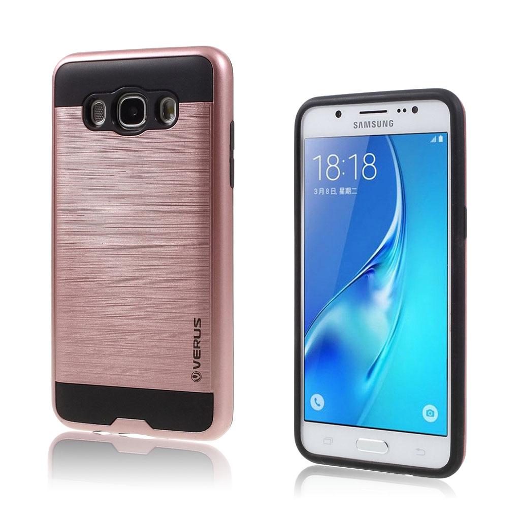Samsung Galaxy J5 (2016) silikonecover med børstet overflade - Rødguld