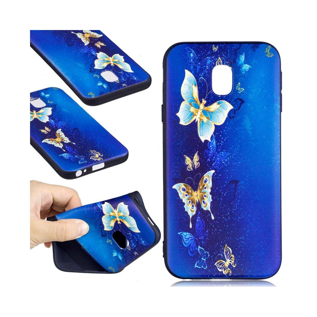 Image of   Samsung Galaxy J3 (2017) Blødt beskyttelses cover - Blå sommerfugle