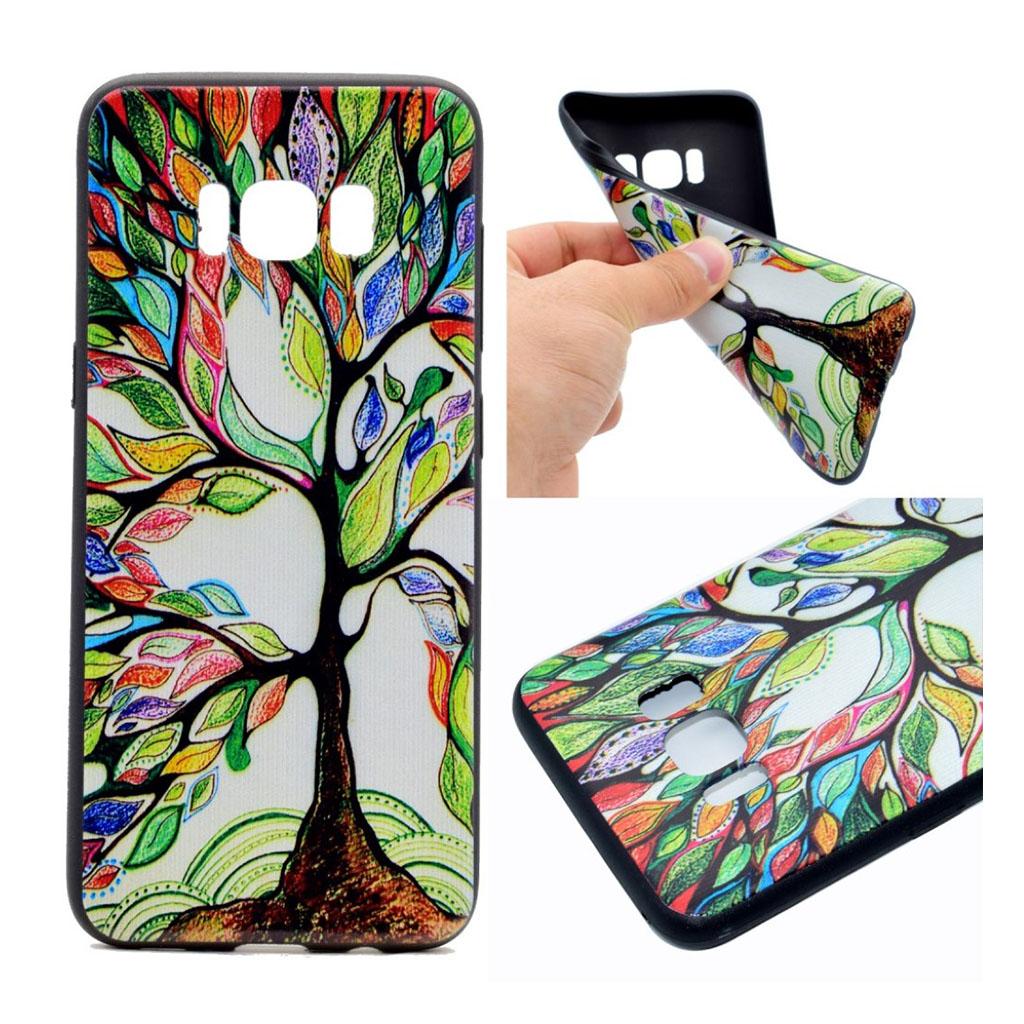Samsung Galaxy S8 Beskyttende silikonecover - Farverigt træ