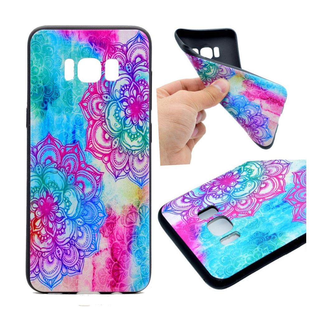 Samsung Galaxy S8 Beskyttende silikonecover - Farverig henna motiv