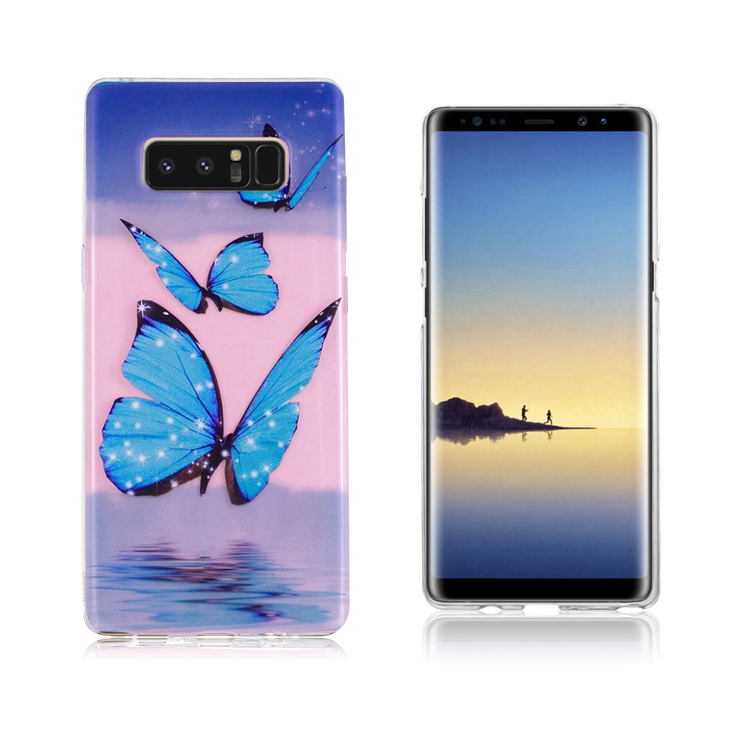 Samsung Galaxy Note 8 Ultra tyndt robust cover - Blå Sommerfugl
