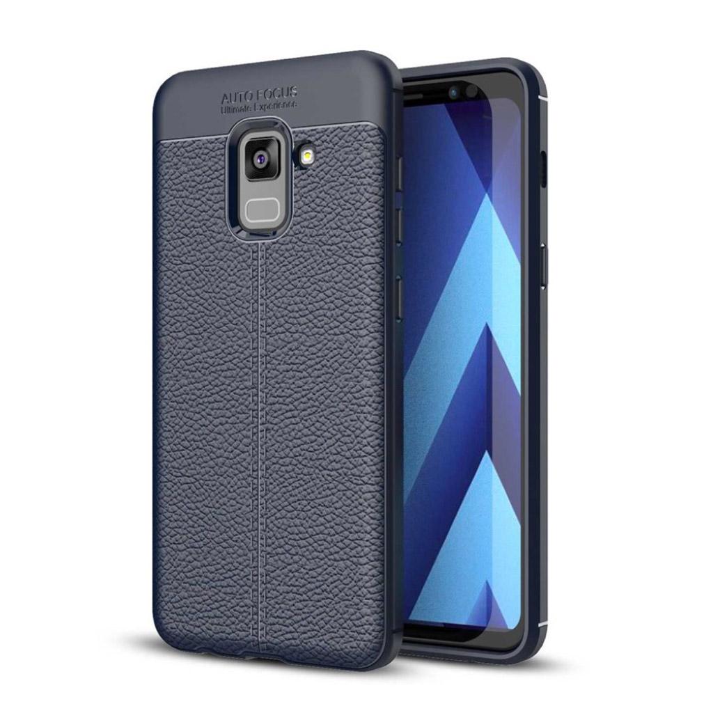 Samsung Galaxy A8 (2018) litchi skin PU læder etui - Mørkeblå