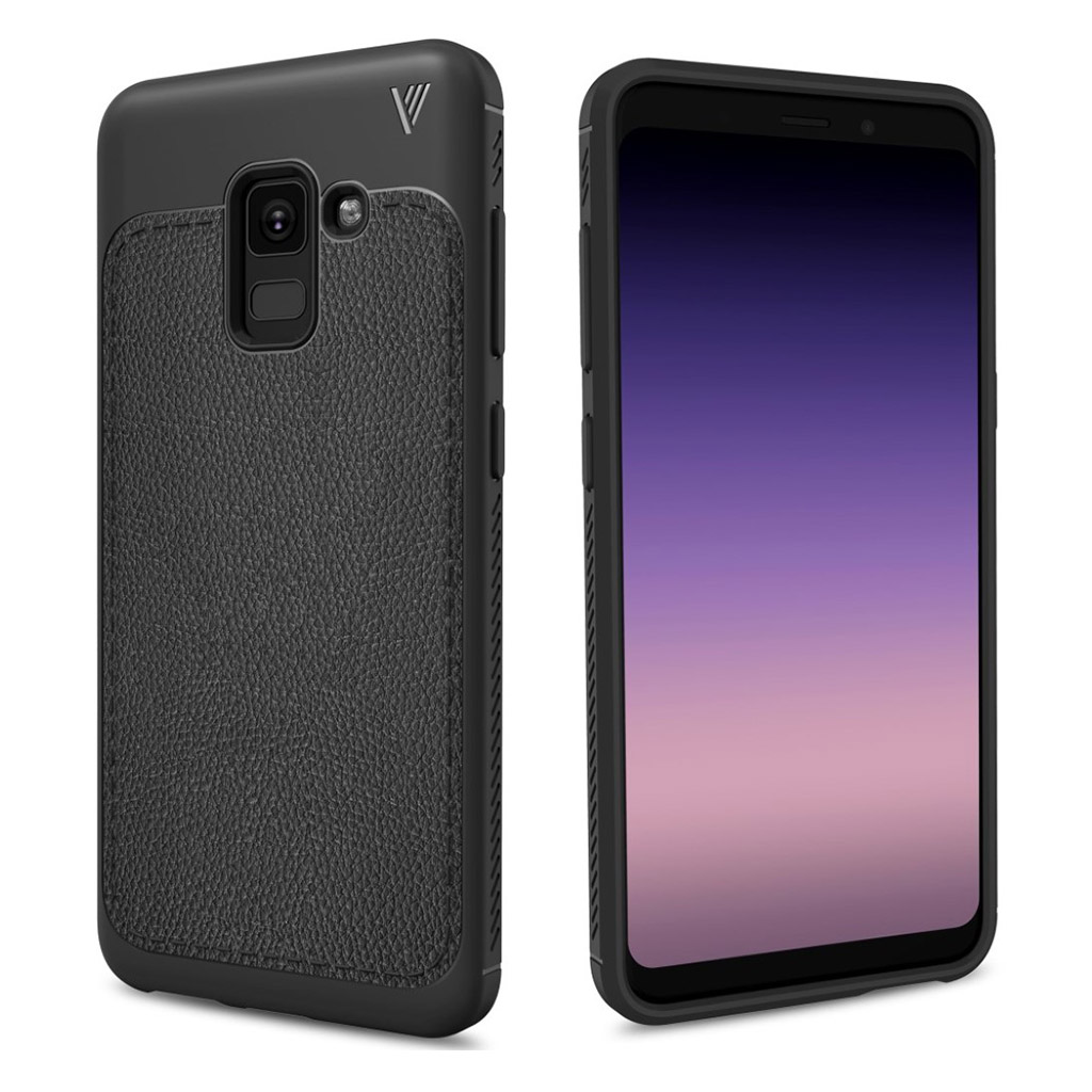 Image of   Black Galaxy A8 (2018) IVSO gentry series PU leather case - Black