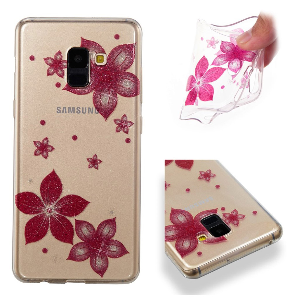 IMD Samsung Galaxy A8 (2018) glitter powder case - Red Flower