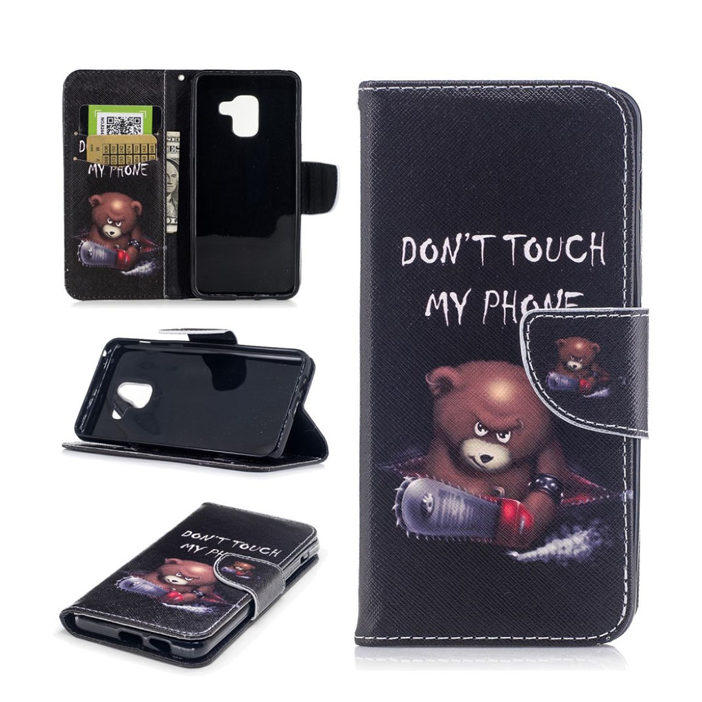 Image of   Samsung Galaxy A8 (2018) patterned PU leather flip case - Warning Words and Angry Words
