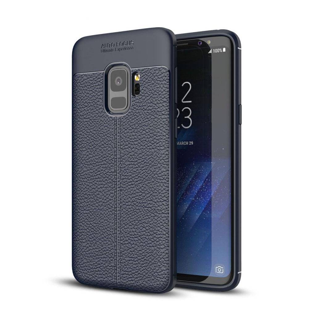 Samsung Galaxy S9 litchi korn TPU etui - Mørkeblå