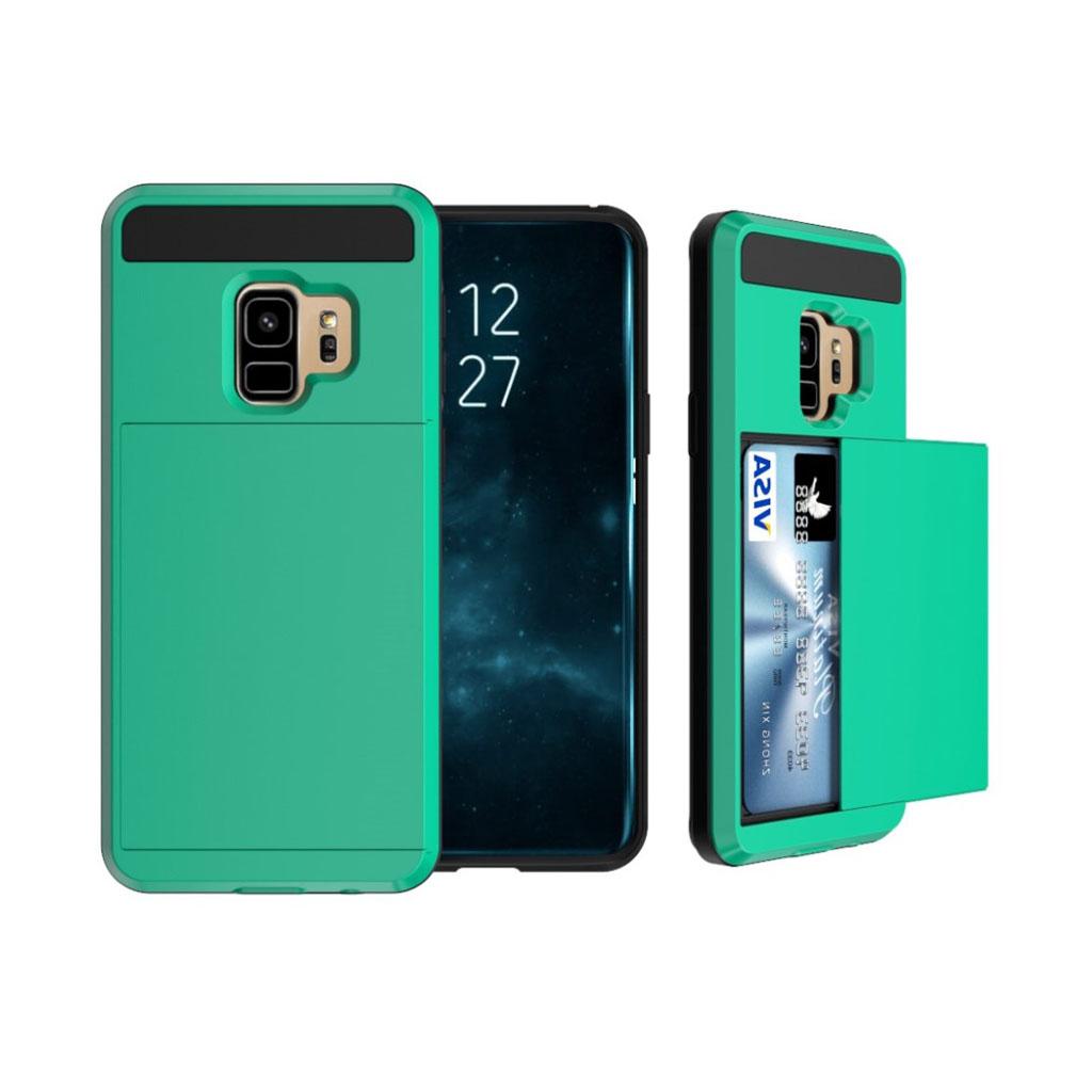 Samsung Galaxy S9 sliding kort TPU etui - Grøn
