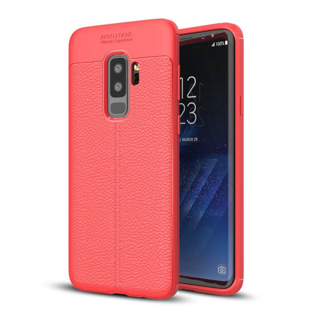 Samsung Galaxy S9 Plus litchi skin blød TPU etui - Rød