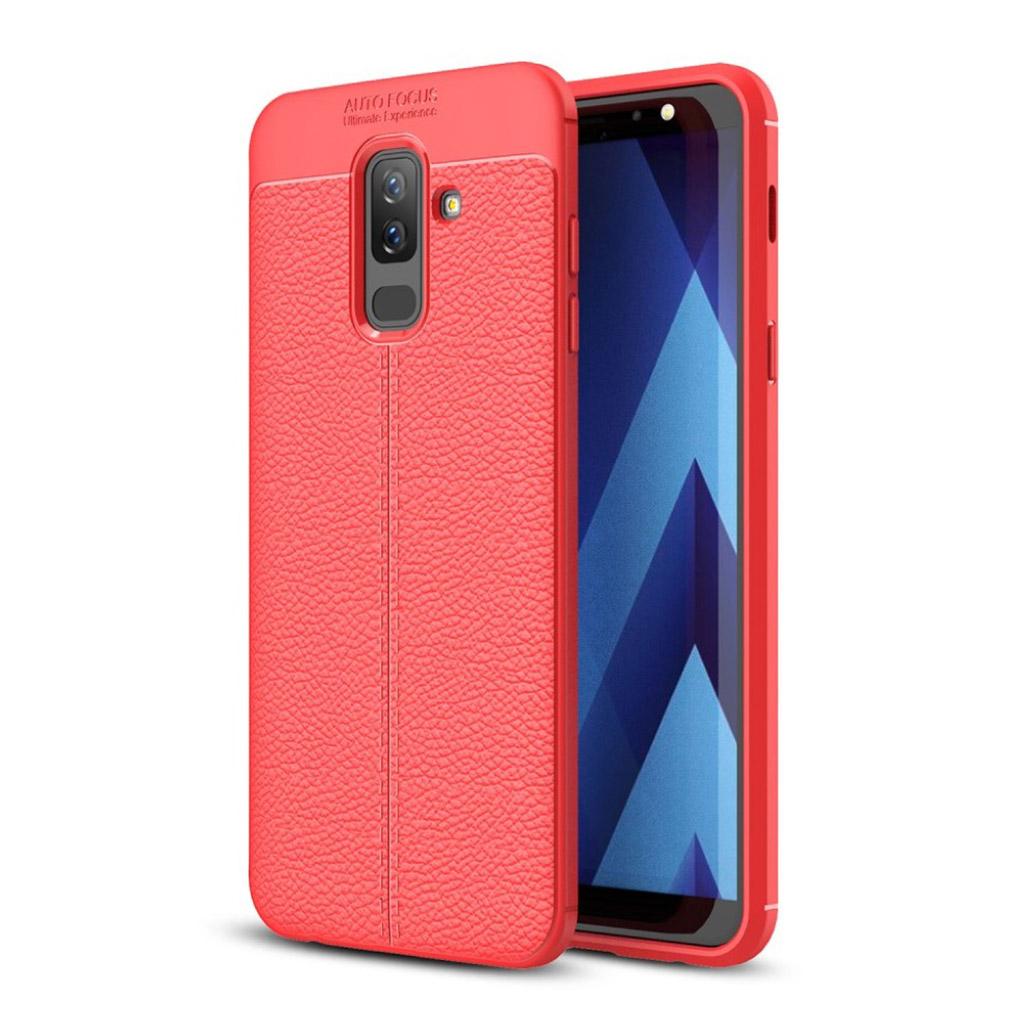 Samsung Galaxy A6 Plus beskyttelsesetui i plastik og silikone med nupret Litchi overflade - Rød