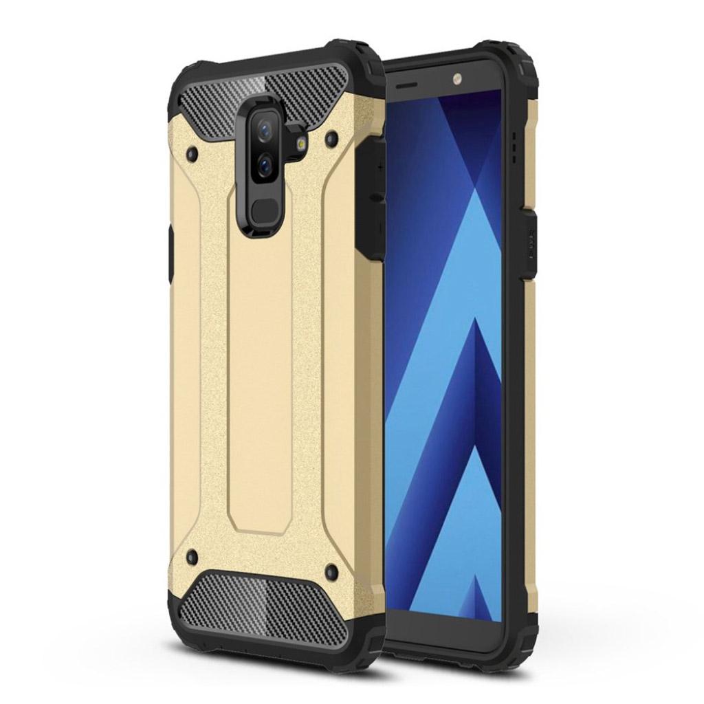 Samsung Galaxy A6 Plus beskyttelsesetui i hybrid-materiale med super hård beskyttelsesskal i plastik - Guld