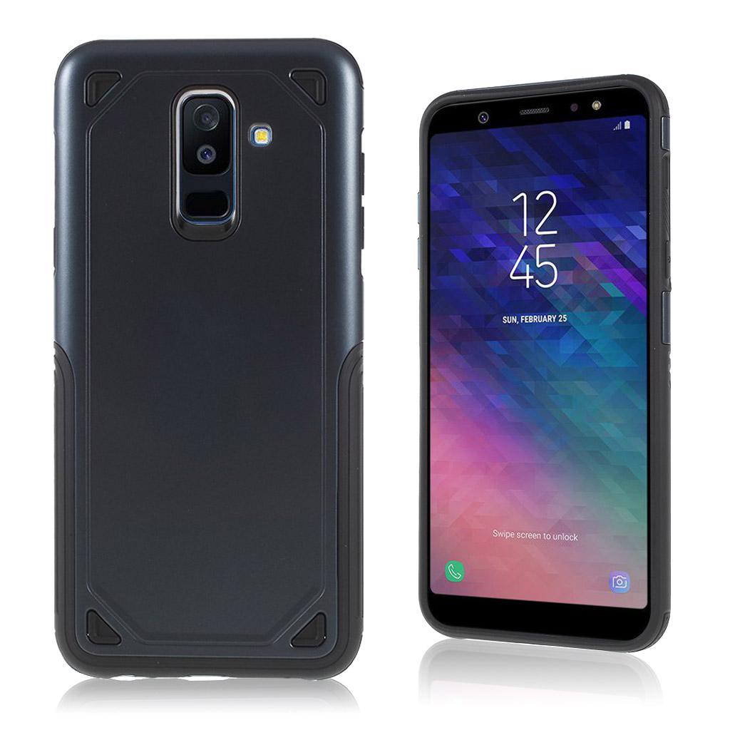 Samsung Galaxy A6 Plus mobiletui i hybrid materialer med blød kant - Mørkeblå