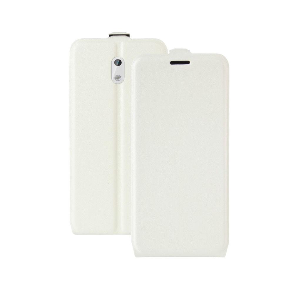 Nokia 3 Læder cover med vertikal flip - Hvid