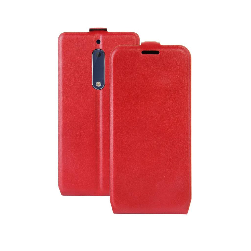 Nokia 5 Læder etui med vertikal flip - Rød