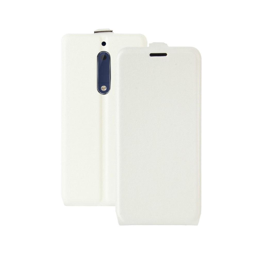 Nokia 5 Læder etui med vertikal flip - Hvid