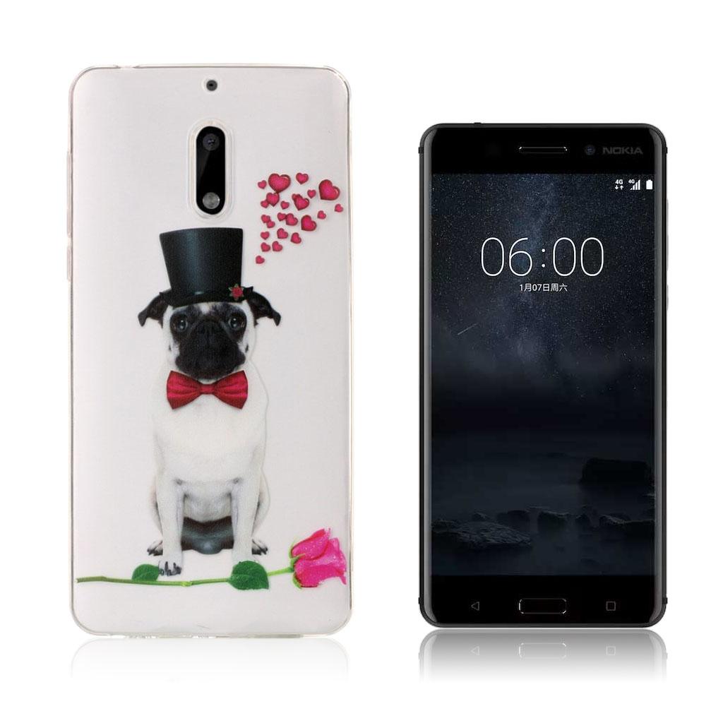 Nokia 6 stilfuldt silikonecover - Smart hund med briller