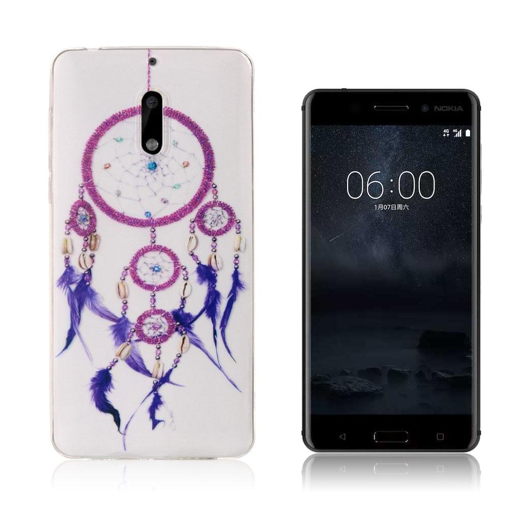 Nokia 6 stilfuldt silikonecover - Farverig drømmefanger