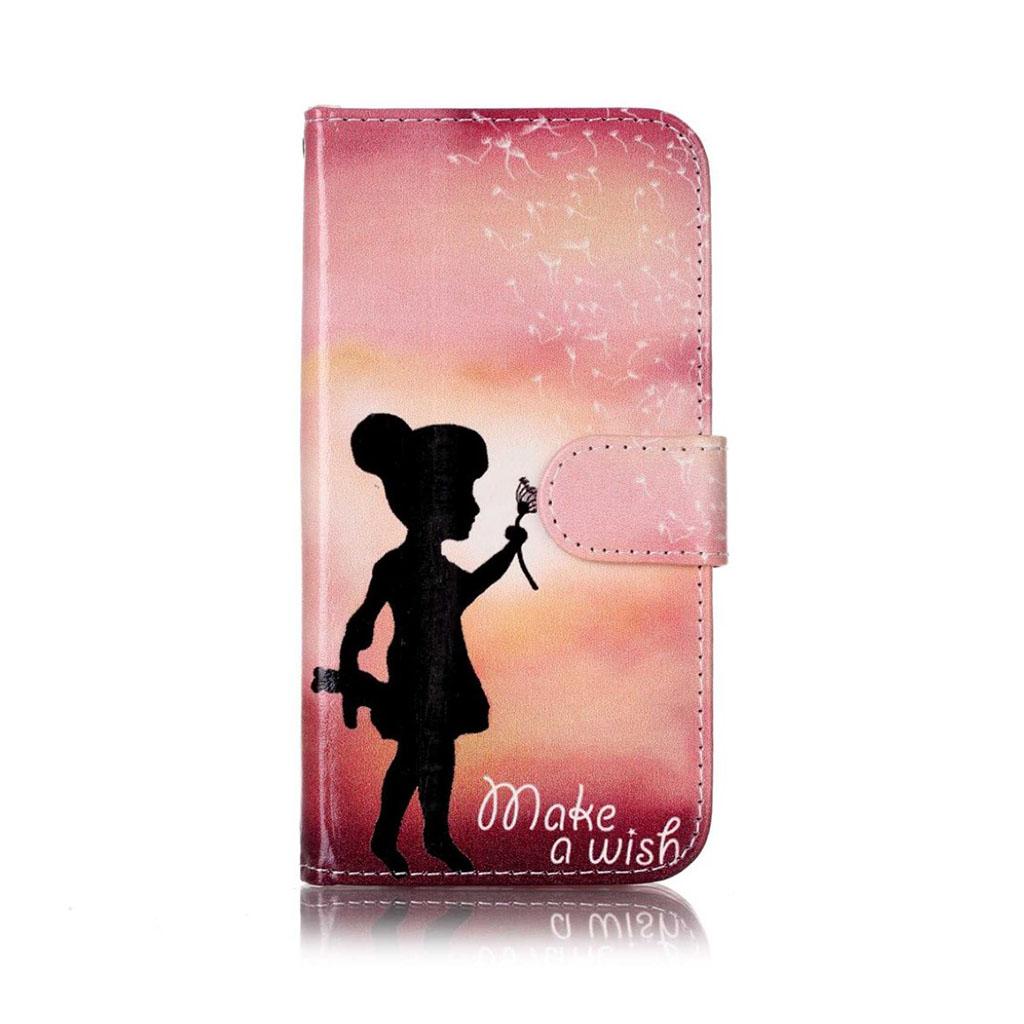 Moberg LG X Screen flip-etui i læder - Pige og lyserød baggrund