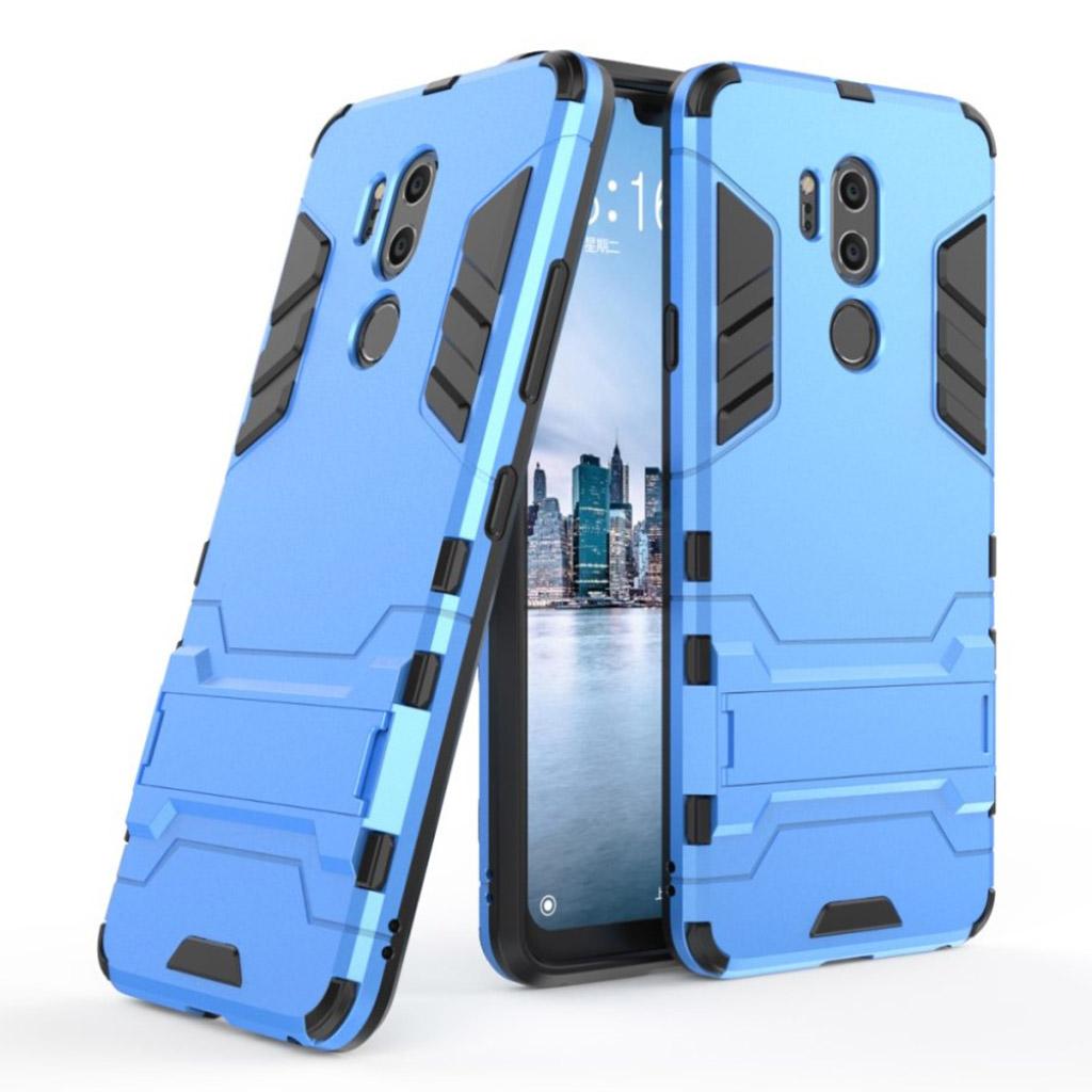 LG G7 ThinQ mobiletui i silikone og plastik med hårdt ameringsplastik og indbygget stativ - Baby Blå