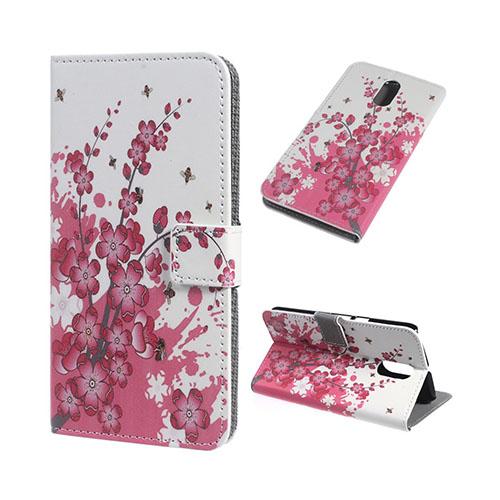 Moberg læder-etui til Motorola Moto G4/G4 Plus - Blommetræ i blomst