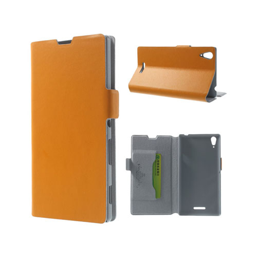 Image of   Bellman (Orange) Sony Xperia T3 Ægte Læder Flip Etui