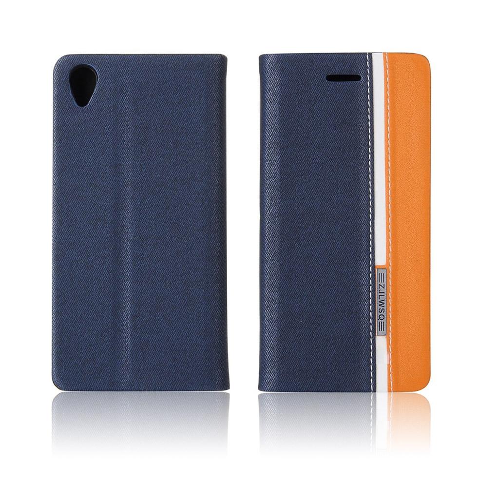 Image of   Arnoldi tofarvet læder-etui til Sony Xperia X Performance - Mørkeblå