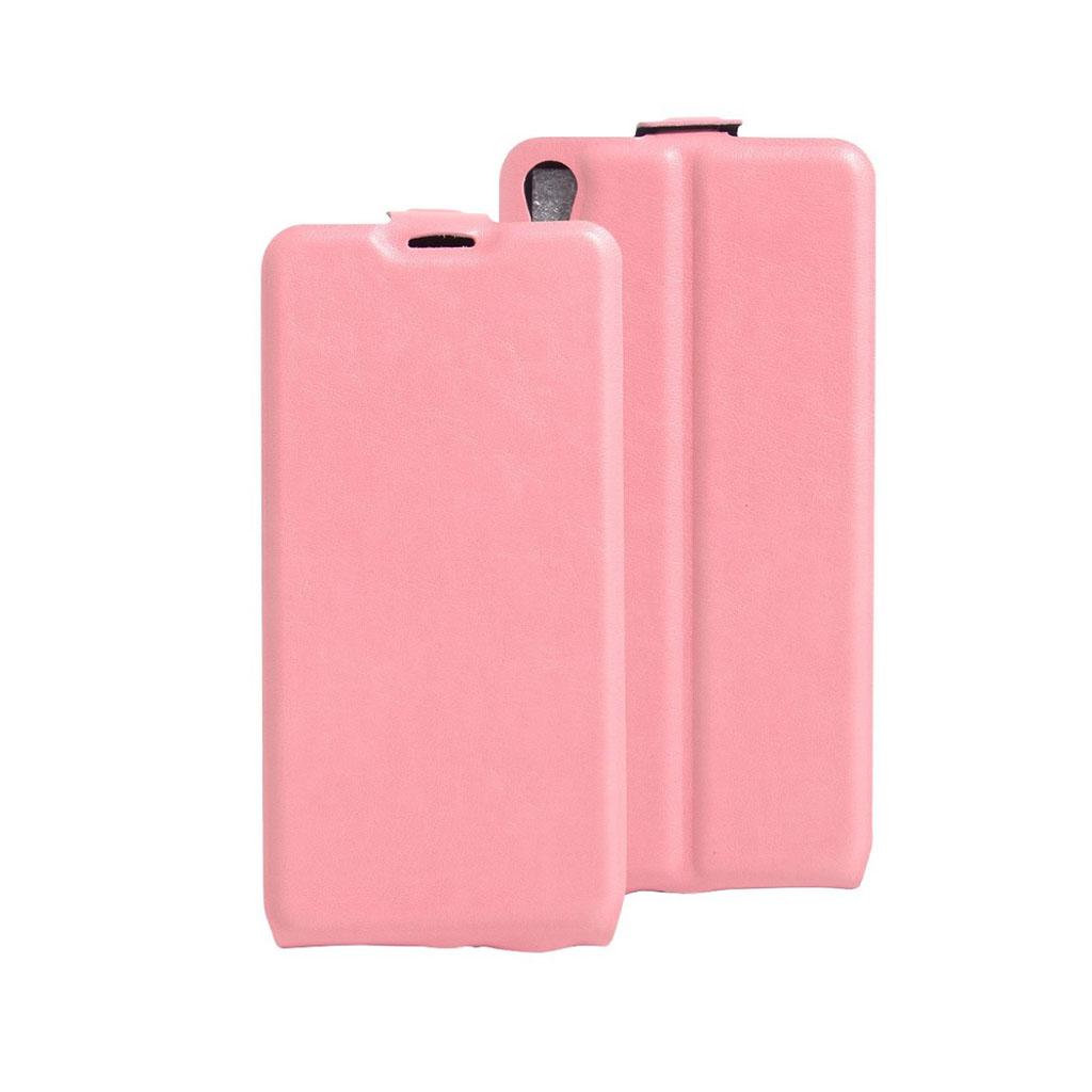 Image of   Amdrup vertikalt flip-etui i læder til Sony Xperia E5 - Pink