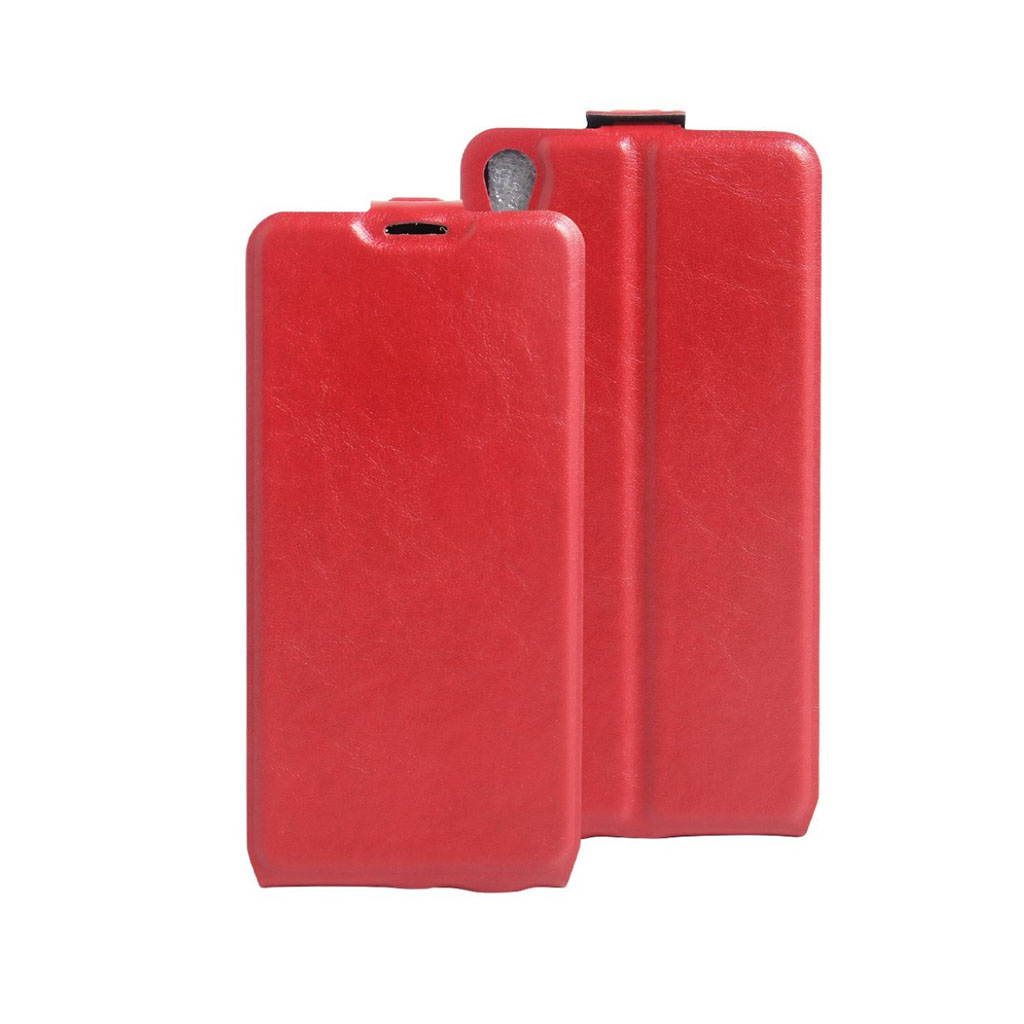 Image of   Amdrup vertikalt flip-etui i læder til Sony Xperia E5 - Rød