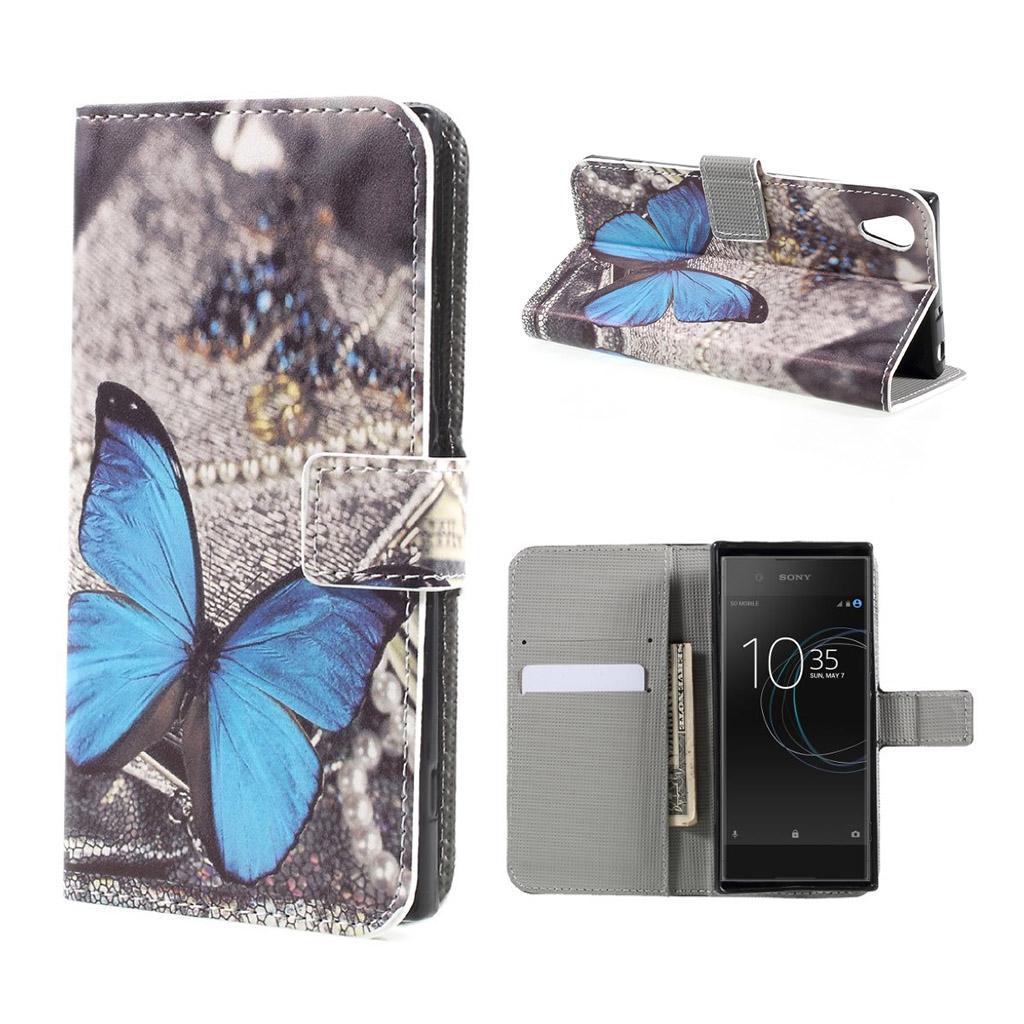 Image of   Sony Xperia XA1 Etui med unik tryk - Blå sommerfugl