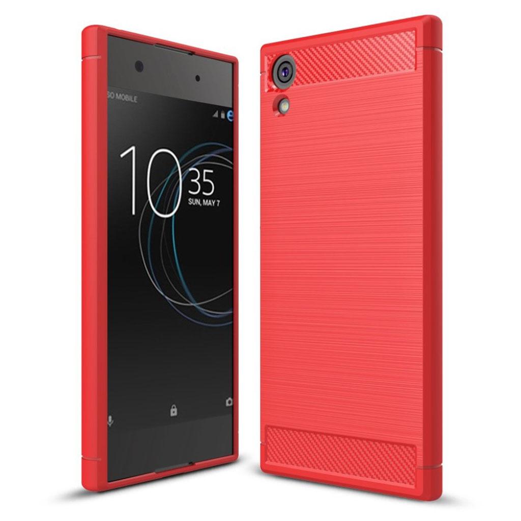 Sony Xperia XA1 Ultra Cover med kulfiber tekstur - Rød