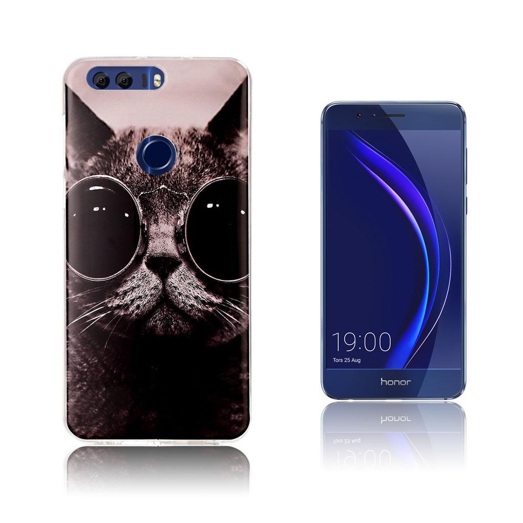Huawei Honor 8 smart silikonecover - Kat med solbriller