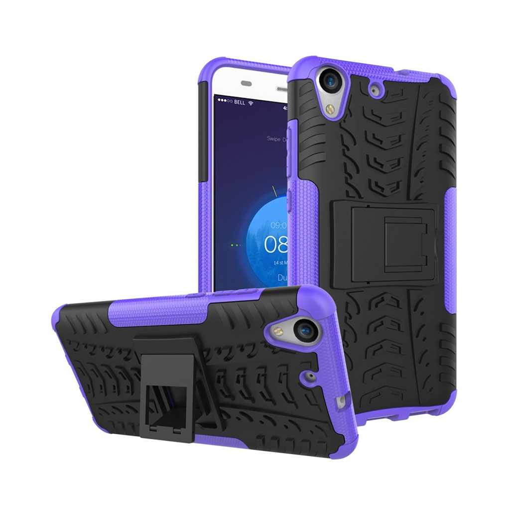Huawei Y6 II siliconecover med kickstand - Lilla