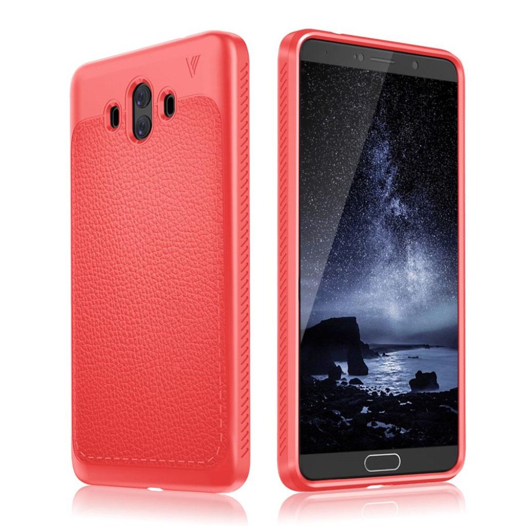 IVSO Huawei Mate 10 Læderbelagt silikone cover - Rød