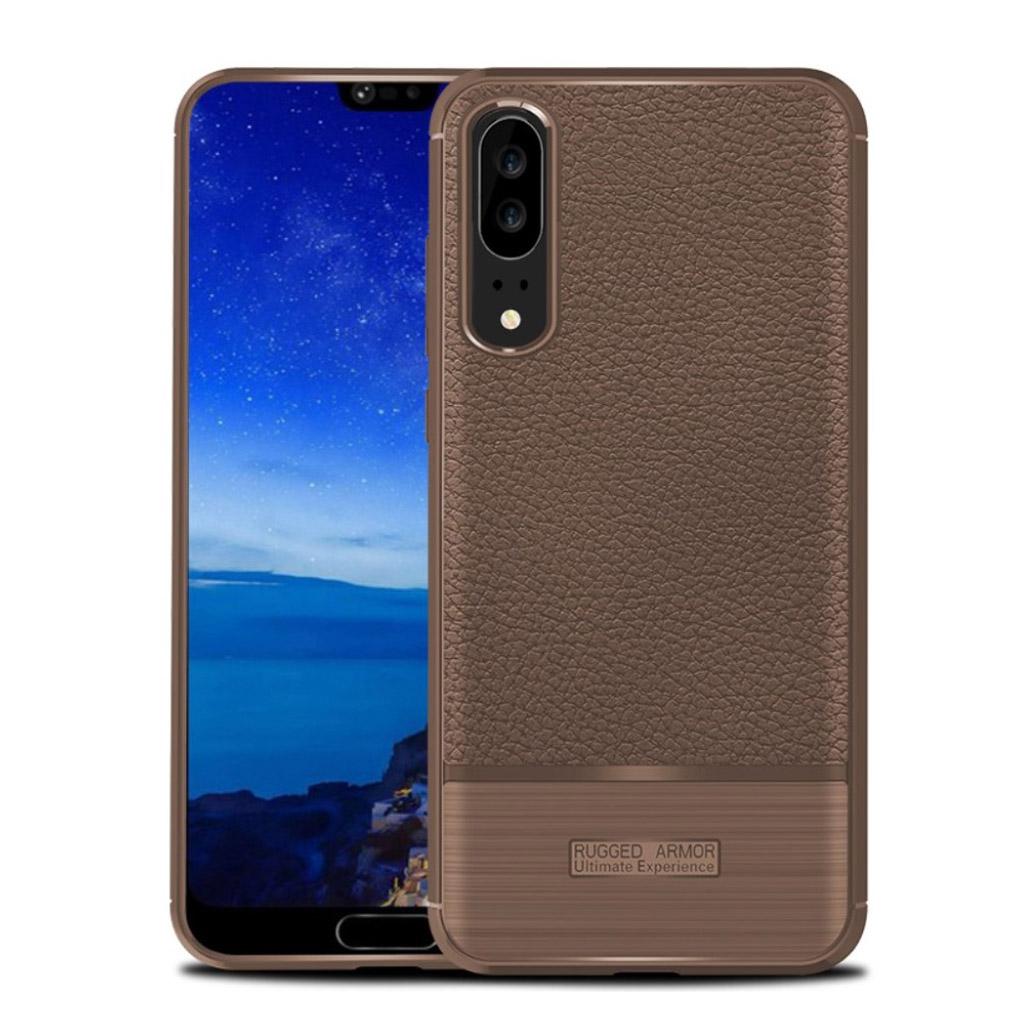 Huawei P20 litchi texture bushed case - Brown