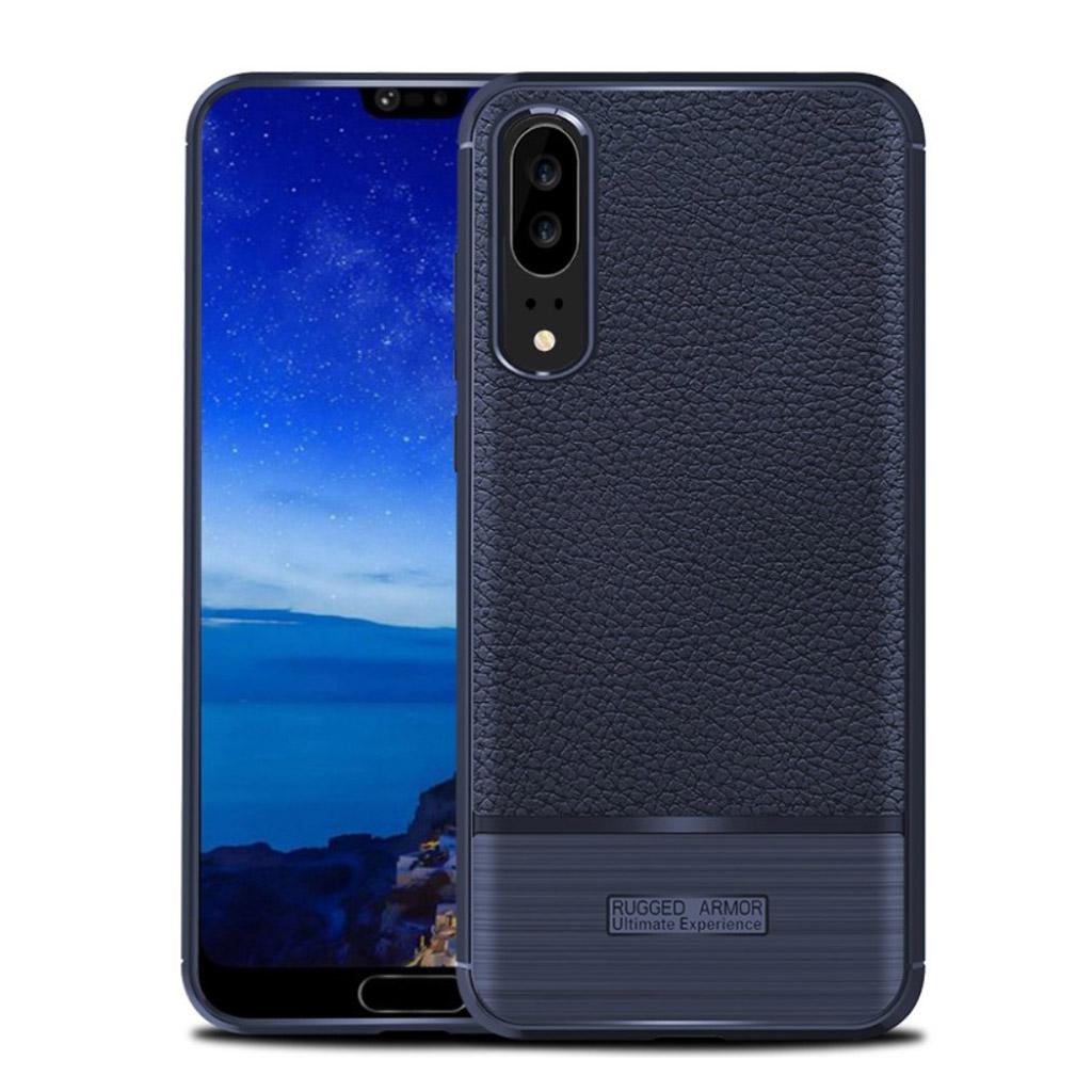 Huawei P20 litchi texture bushed case - Dark Blue