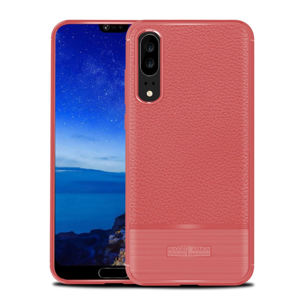 Huawei P20 litchi texture bushed case - Red
