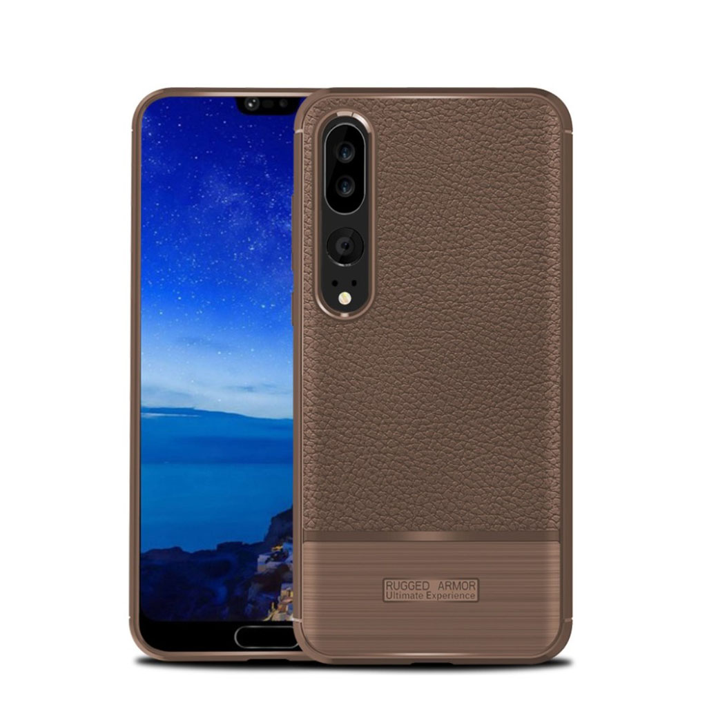 Huawei P20 Pro litchi texture brushed case - Brown